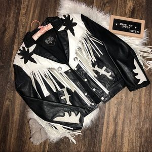 100% Genuine Black/White Leather Jacket w/ Fringe